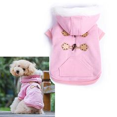 Pink Warm Winter Fashion Pet Dog clothes with hoodies luxury quality size M - http://www.thepuppy.org/pink-warm-winter-fashion-pet-dog-clothes-with-hoodies-luxury-quality-size-m/