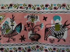Vintage 1950's  Print du Jour Tablecloth Cows, Chickens, Flowers Pink Black