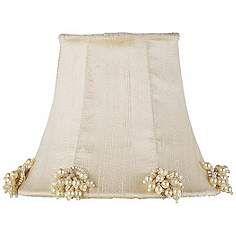 Ivory Silk Shade with Pearl Burst Trim 3x5x4.25 (Clip-On)