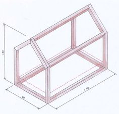 Molde para construir uma cama de casinha para colchão de solteiro (medindo: 0,88 x 1,88 x 0,25)