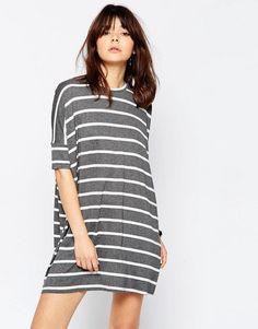 ASOS   ASOS T-Shirt Dress In Stripe at ASOS
