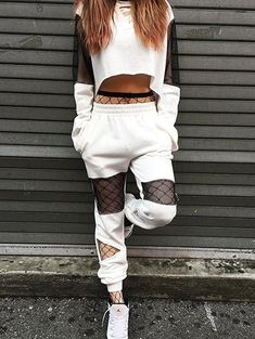 Jogger Mesh Insert Sweat Suit - WHITE S