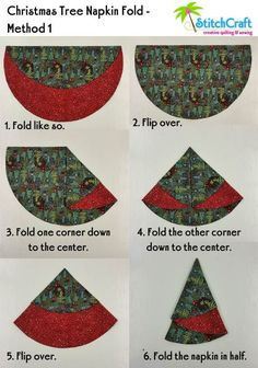 Christmas Tree Circular Napkins are so quick and easy that we thought we'd share. - Christmas Tree Circular Napkins are so quick and easy that we thought we'd share a tutorial for making them! Whip some up to decorate f… Christmas Tree Napkin Fold, Quilted Christmas Ornaments, Christmas Napkins, Christmas Fabric, Fabric Christmas Decorations, Stick Christmas Tree, Black Christmas Trees, Winter Wonderland Christmas, Alternative Christmas Tree
