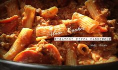 Slow Cooker Rigatoni Pizza Casserole  You will Need: 1 -16oz pkg. Rigatoni pasta 1 1/2 lbs of ground beef 1- small onion chopped 4- cups of mozzarella shredded cheese 2- 15 oz cans of pizza sauce 1- 10 oz can of cream of mushroom soup 1- 8oz pkg. sliced pepperoni 1/4 tsp. Italian seasoning  Cook pasta...meanwhile brown ground beef and chopped onion. Drain pasta and place it in crock pot  In a med. bowl ....mix pizza sauce, cream of mushroom, shredded cheese, pepperoni and hamburger After it…