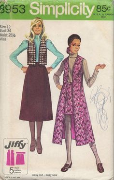 70s Vest Skirt Sewing Pattern Size 12 by VintageButtercup on Etsy