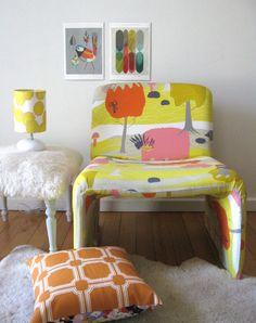 tangoandjames: Upholstered old chair in Ikea fabric - wow!