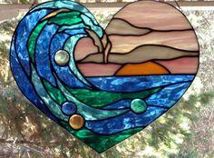 Stained Glass Art Window WAVE IN HEART Suncatcher Panel Coastal Beach Theme OOAK