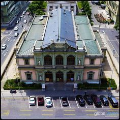 Aerial view of the Conservatory of Music Panorama 360, Conservatory, Aerial View, Sony, Mansions, House Styles, Music, Musica, Musik
