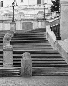 """Architecture Photography of Rome - """"The Spanish Steps in Black and White"""" 8x10 Print $35"""