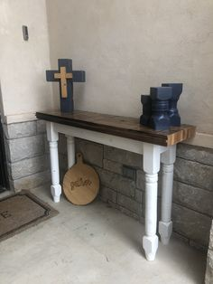 Originally owned and operated by my parents, Country Crossings was a. Rustic Sofa Tables, Diy Sofa Table, Entryway Tables, Furniture Making, Furniture Decor, Built In Sofa, Wood Molding, Wood Screws, Farmhouse Furniture