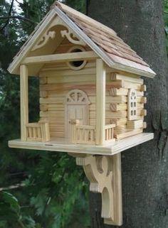 Rustic Log Cabin Bird House