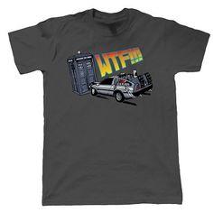 WTF Tardis V Delorean Crash T Shirt Dr Who Back To The Future Men's Fashion Printed Cotton Top Tee
