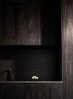 Contemporary Dark Wood Kitchen by Norm Architects Contemporary Interior Design, Interior Design Living Room, Interior Decorating, Interior Modern, Modern Contemporary, Modern Design, Dark Interiors, Wood Interiors, Scandinavian Interiors