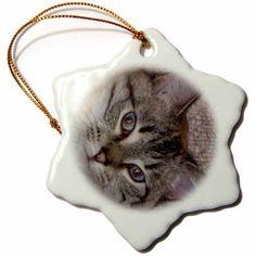 3dRose Siamese, Snowflake Ornament, Porcelain, 3-inch