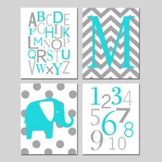 Aqua and Gray Nursery Art Quad - Set of Four 11x14 Prints - Chevron Monogram Initial , Modern Alphabet, Numbers, Polka Dot Elephant
