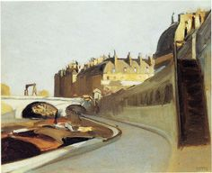 Le Quai des Grands Augustins: 1909 by Edward Hopper  (Whitney Museum of American Art, NYC) - American Realism (Viewed as part of the Exhibit - Hopper Drawings at the Whitney 10/5/13)
