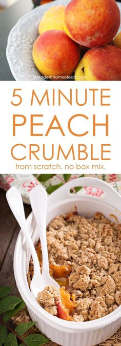 This peach crumble captures all the flavors of a traditional peach cobbler, but you can have it in the oven in about 5 minutes! No box mixes, just real, from-scratch cooking in a hurry. by aisha