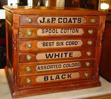 ANTIQUE J & P COATES 6 DRAWER OAK SPOOL THREAD CABINET -$998.00 on ...