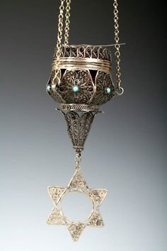 Middle Eastern Judaica - Ner Tamid נֵר תָּמִיד = Eternal Light, hangs above the ark in every synagogue. Israel, Jewish History, Jewish Art, Jewish Quotes, Meet The Artist, Star Of David, Sacred Art, Wedding Rings, Amulets