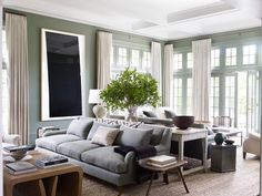 File Style: Mark Cunningham - % Jessica Alba, Moulding And Millwork, Green Painted Walls, Blue Shutters, Living Room Paint, Formal Living Rooms, Cool Chairs, Architectural Digest, House Colors