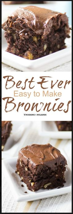 Best Ever Easy to Make Brownies by Noshing With The Nolands - These decadently frosted treats are perfectly balanced between fudgy and cakey! Brownie Desserts, Oreo Dessert, Mini Desserts, Brownie Recipes, Dessert Bars, Chocolate Desserts, Easy Desserts, Cookie Recipes, Dessert Recipes