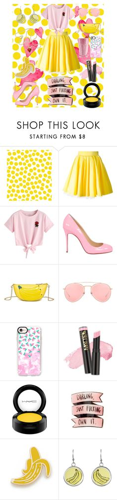 """pink and yellow"" by homopomogay ❤ liked on Polyvore featuring Jennifer Paganelli, Philipp Plein, WithChic, Christian Louboutin, Dita, Casetify, L.A. Girl, Georgia Perry and Kenneth Jay Lane"