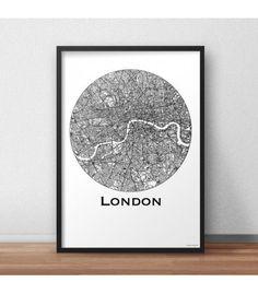Affiche Londres Angleterre Minimalist Map - Création Originale