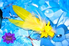Zapdos Inspired Pokemon Fascinator Or Hat Feather, Yellow Hair flower, Geeky, Nerdy, Cosplay, Yellow Hair Clip, Pokemon Accessory, Kawaii