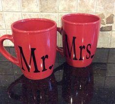 Red and black mr and mrs wedding mugs cute by GlitzyGlitterGal