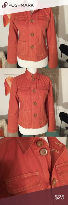 Anthropologie Tulle Terra Cotta Red Orange Jacket Great tailoring and details - create different looks with the top neck buttons - mint condition. Size M. Anthropologie Jackets & Coats Jean Jackets
