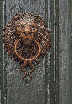 Lion Door Knocker by Karl Deen Sanders Door Knockers Unique, Door Knobs And Knockers, Cool Doors, Unique Doors, Lion Door Knocker, Door Accessories, Door Furniture, Door Locks, Windows And Doors