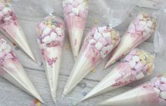 Unicorn party favours white pink hot chocolate mix gifts for