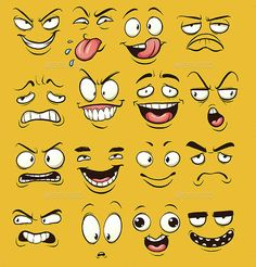 Vector clip art illustration with simple gradients. Each face on a separate layer. and PSD files includFunny cartoon faces. Vector clip art illustration with simple gradients. Each face on a separate layer. and PSD files includ Cartoon Faces Expressions, Funny Cartoon Faces, Drawing Cartoon Faces, Cartoon Expression, Funny Face Drawings, Cartoon Cartoon, Funny Cartoons, Doodle Art Drawing, Art Drawings