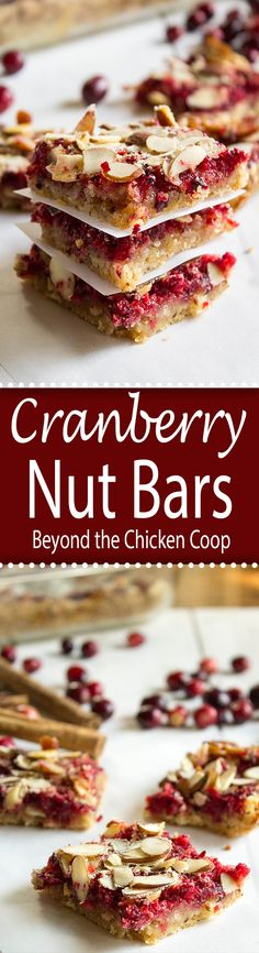 Cranberry Nut Bars made with fresh cranberries and almonds.