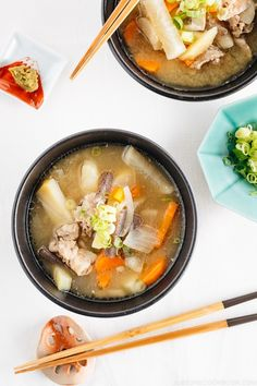 Tonjiru sometimes called Butajiru is a savory pork and vegetable miso soup This recipe is made in an Instant Pot a pressure cooker to speed up the process It s a comforting soup for fall and winter months Easy Japanese Recipes at Top Recipes, Asian Recipes, Cooking Recipes, Healthy Recipes, Ethnic Recipes, Cooking Tips, Dinner Recipes, Japanese Soup, Japanese Diet
