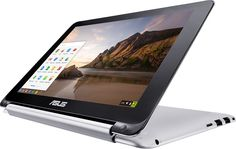 "Asus - Flip 2-in-1 10.1"" Touch-Screen Chromebook - Rockchip - 2GB Memory - 16GB Flash (eMMC) Memory - Aluminum (Silver), C100PA-RBRKT03"