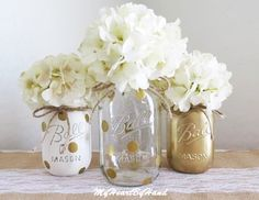 White with Gold Polka Dots, Gold and White Distressed Mason Jars, Gold Baby Shower, Gold Wedding, Nursery Decor, Rustic Centerpieces by MyHeartByHand on Etsy