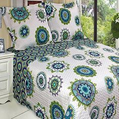 Contemporary Boho Medallion Blue Teal Lightweight Oversized Quilt Coverlet Set - pretty blue and green on white background #bohemian style bedding