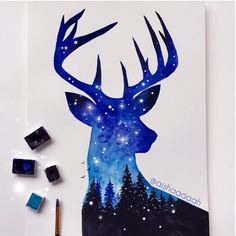 y favourite animal, colour, and season 💙☺. I love winter💙⛄️ Blue Drawings, Doodle Drawings, Animal Drawings, Disney Kunst, Disney Art, Deer Art, Spray Paint Art, Guache, Galaxy Art