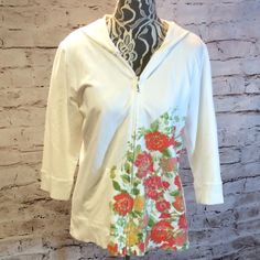 SZ LG STYLE & CO SPORT CROPPED HOODED KNIT JACKET Pretty and stylish this jacket is perfect for those casual days with cropped sleeves and a cotton/spandex blend, not to mention the beautiful floral print Style & Co Jackets & Coats