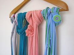 Long peach skinny scarf, infinity scarf, recycled t shirt scarf, shabby chic jersey scarf. $21.50, via Etsy.