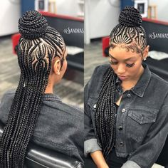 Cornrows...front & back view of a stylish and #slayed hairstyle. Can be worn upswept in a ponytail on top or relaxed downward. | #cornrows #virginhair #slay #braids #hairstyles #trends #Yvettelonginternational