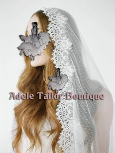 Dotted Tulle Veil-Fingertip Length Veil. Custom Length Veil. Boho Style Victorian Style Bridal Veil with Lace Trim Weddings by AdeleTailorBoutique on Etsy