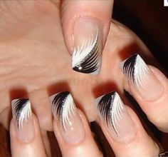 Feather nail art is maybe the most effective alternative that you simply will create. However, there is also times that you simply feel as if making feather nail art is just too. Black Nail Designs, Simple Nail Designs, Nail Art Designs, Nails Design, Pedicure Designs, Fancy Nails, Pretty Nails, Nice Nails, Feather Nail Art