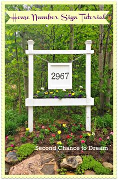 DIY House Number Sign Tutorial Another way to display your house number, via Second Chance to Dream Outdoor Signs, Outdoor Decor, Outdoor Ideas, Outdoor Spaces, Outdoor Living, Backyard Ideas, Driveway Sign, Driveway Entrance, House Numbers