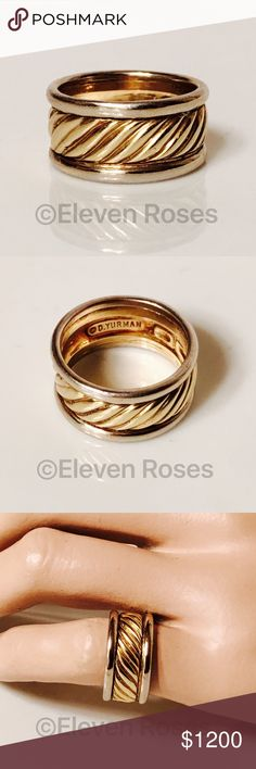 david yurman 18k yellow white gold cable band ring david yurman 18k gold wide cable