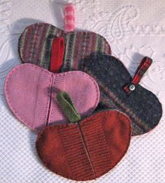potholders made from recycled wool sweaters  heartfeltbaby.etsy.com