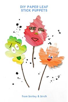 Our DIY leaf stick puppets are made with paper scraps and nature supplies! With optional free printable leaf templates, these are a fun kids craft and play activity for a fall afternoon.   from barley & birch