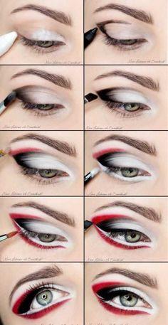 Bold Eye Makeup Tutorial make up products 22 Pretty Eye Makeup Ideas for Summer Red And Black Eye Makeup, Bold Eye Makeup, Pretty Eye Makeup, Colorful Eye Makeup, Makeup Art, Beauty Makeup, Amazing Makeup, Pretty Eyes, Black Eyeliner