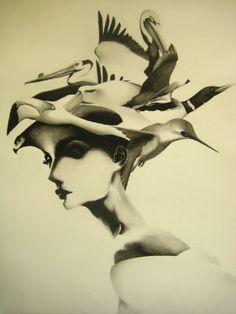 Samuel Jan, Woman in Hat, graphite framed, SOLD